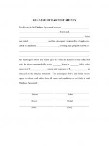 cash receipt template word release of earnest money d