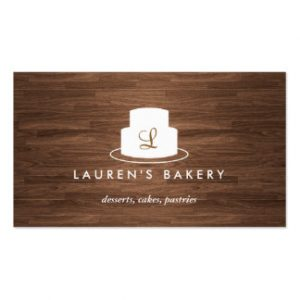 catering buisness cards cake monogram logo in white on brown woodgrain business card reafaebcadce it byvr