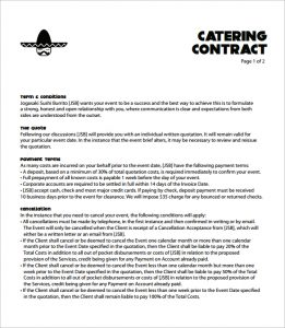 catering contract template catering contract template free