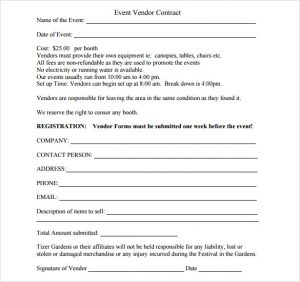 catering contracts template event vendor contract template