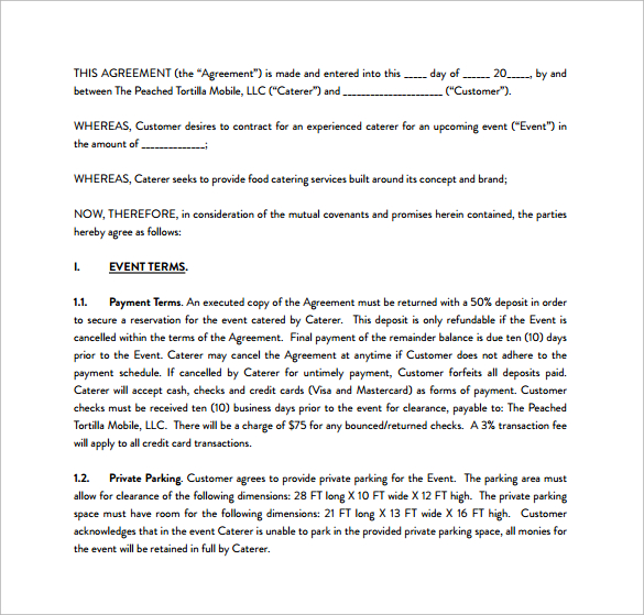 catering contracts template