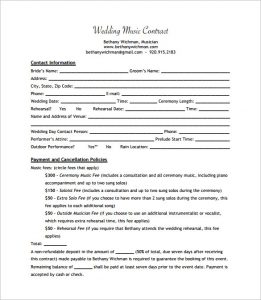 catering contracts template sample wedding music contract pdf download