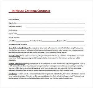 catering contracts templates catering contract template