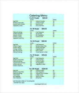 catering menu template catering menu excel format template download