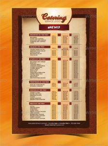 catering menu template catering menu template psd format download