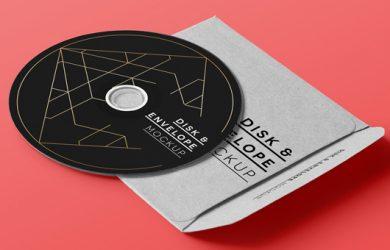 cd cover design template cd disk music envelope cover album brand mockup psd