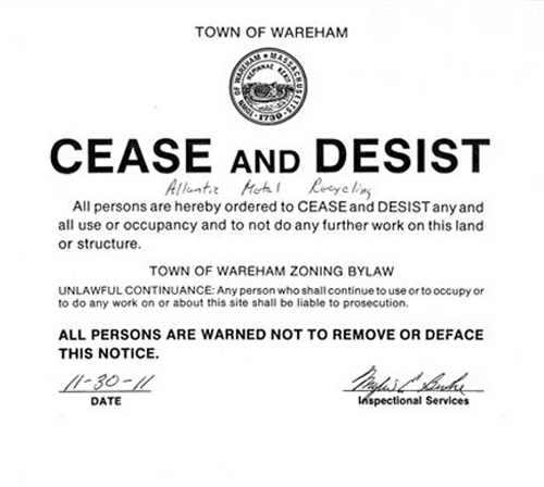 cease and desist harassment