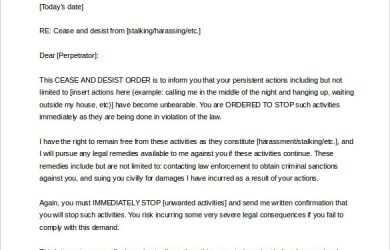 cease and desist letter harassment cease and desist letter harassment word format