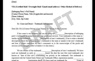 cease and desist letter trademark infringement cease and desist letter