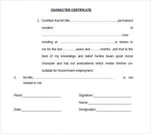 certificate of completion template word character certificate