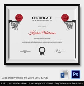 certificate of completion template word word document netball certificates templates printable