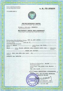 certificate of translation akte kelahiran