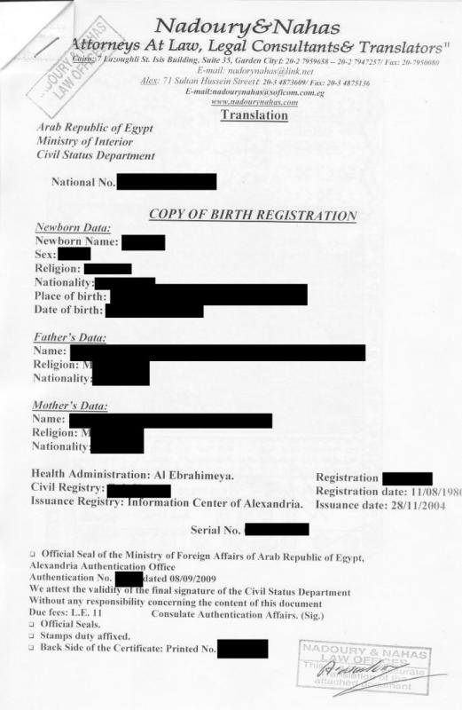 certificate of translation