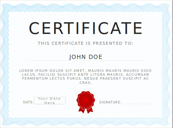 certificate template powerpoint