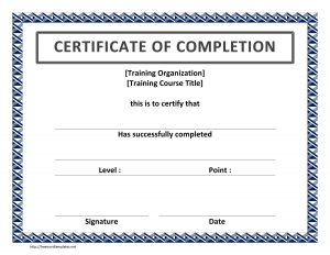 certificate template word training certificate of completion