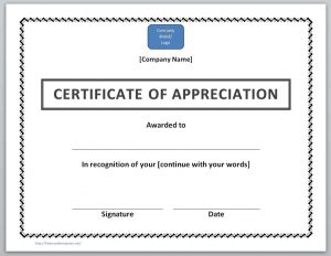 certificate template word certificate of appreciation