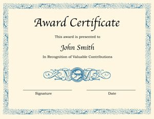 certificate template word printable award certificate template word