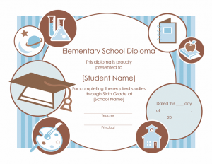 certificate templates free download elementary school diploma certificate template