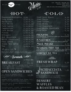 chalk board menu bluebird coffee menu food cafe
