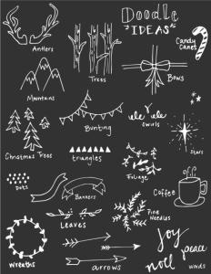 chalk board menu doodles x