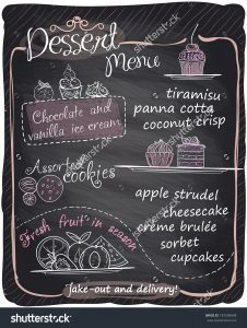 chalk board menu stock vector chalkboard dessert menu eps