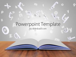 chalkboard powerpoint template d book letters open book pages paper creative writing powerpoint template slide