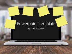 chalkboard powerpoint template laptop post it notes office desk business deadlines reminders powerpoint template slide