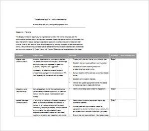 change management planning template human resources change management plan word free download