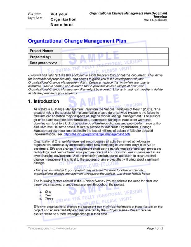 change management planning template