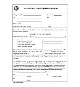 change order form construction change order request form