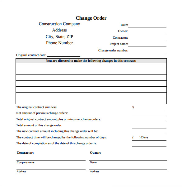 change order template