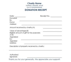 charitable donation receipt charity donation receipt