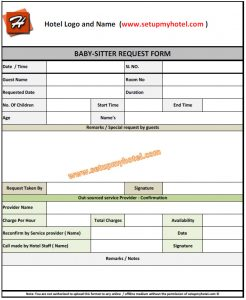check request template babysittting request form