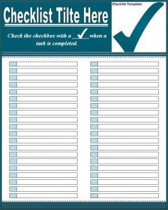 checklist template word checklist template
