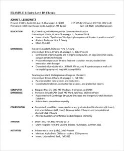 chemical engineer resume entry level chemical engineer resume