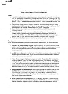 chemistry lab report template chemistry experiment types of chemical reactions