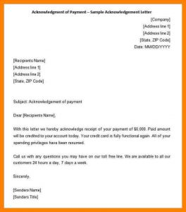child care receipt acknowledgment of receipt letter acknowledgment of payment sample acknowledgement letter min
