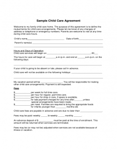 child support agreement form sample child care agreement form l