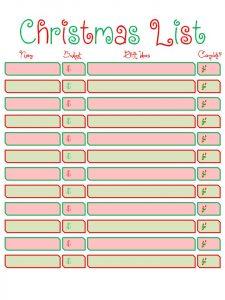 christmas list printable christmas list printable