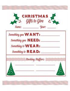 christmas list printable christmas list single sheet