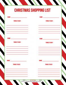 christmas list printable christmas stripes shopping list aspectacledowl