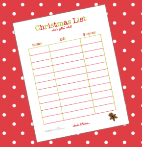 christmas list printable christmaspreview