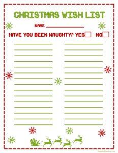 christmas list printable printable christmas wish list