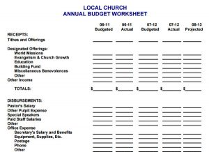 church budget template annual budget worksheet