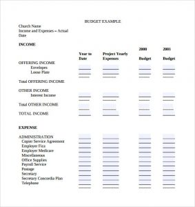 church budget template sample church budget template