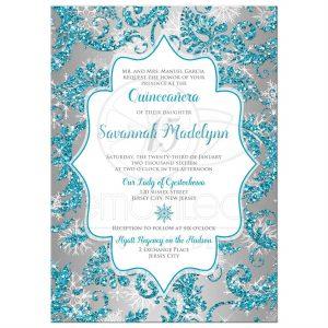 cinderella birthday invitations rectangle sweetsilvericeaquadamaskglitter