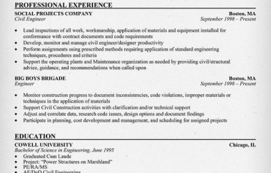 civil engineer resume civil engineering sample resume