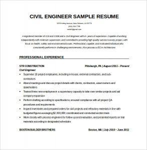 civil engineer resume editable resume for civil engineeer in word doc download