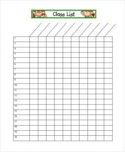 class roster template multipurpose class list