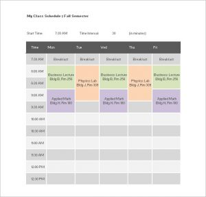 class schedule templates free download college class schedule template word doc